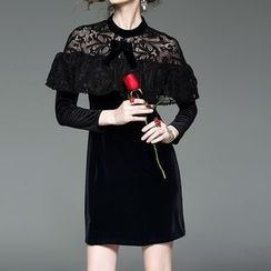 Alaroo - Lace Yoke A-Line Velvet Dress