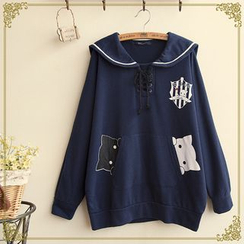 Fairyland - Cat Print Sailor Collar Pullover