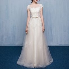 Luxury Style - Lace Appliqué Cap Sleeve A-Line Evening Gown