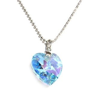 Charming Necklace with Swarovski Sparkling Crystal (Sparkling Light Blue Heart)