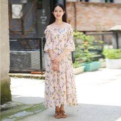 Rainbeam - Off-Shoulder Printed Maxi Dress