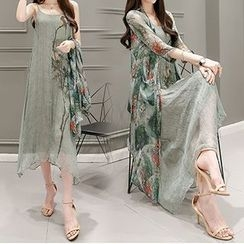 Lavogo - Set: Print Spaghetti Strap Midi Chiffon Dress + Long Chiffon Jacket