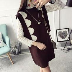 Qimi - Patterned Long Knit Vest