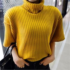LIPHOP - Turtle-Neck Short-Sleeve Ribbed Knit Top