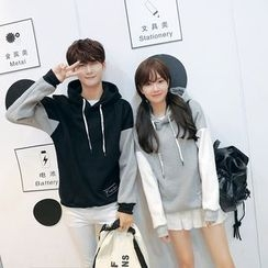 We Belong - Couple Matching Letter Colour Block Hooded Jacket