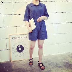 KASA - Denim Elbow-Sleeve Playsuit