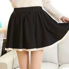 MUSI - Lace Trim A-Line Skirt