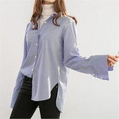 PEPER - Slit-Side Striped Shirt