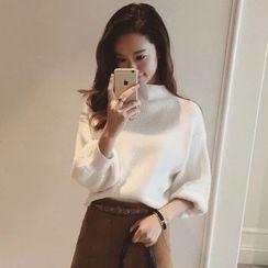 Ashlee - Set: Mock Neck Sweater + A-line Skirt