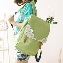Canvas Love - Applique Buckled Flap Canvas Backpack