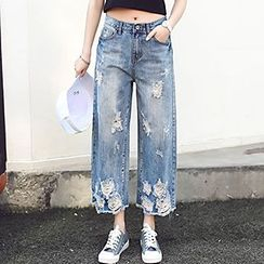 Rosehedge - Cropped Distressed Wide Leg Jeans
