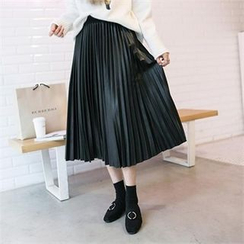 PEPER - Band-Waist Accordion-Pleat Skirt