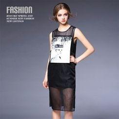 Ozipan - Set: Sleeveless Paneled Dress + Camisole