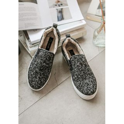 GOROKE - Faux-Fur Lined Tweed Slip-Ons