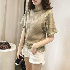 Little V - Perforated Panel Fringed Crochet Trim T-Shirt