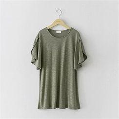 PEPER - 圆领花瓣袖T恤