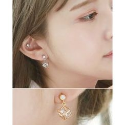 Miss21 Korea - Caged-Rhinestone Dangle Earrings