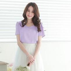 Tokyo Fashion - Short-Sleeve Paneled Beaded Top