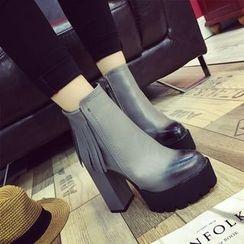楊董 - 流蘇高跟及踝靴