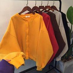 Alfie - 寬鬆蝙蝠袖單排扣純色衛衣外套
