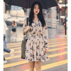Sienne - Floral Print Long-Sleeve Dress