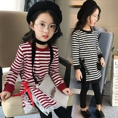Pegasus - Kids Lace Trim Striped Long Sleeve Dress