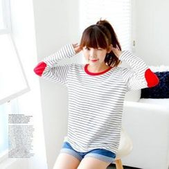 Cocopop - Striped Elbow-Patch T-Shirt