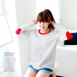 DL jini - Striped Elbow-Patch T-Shirt