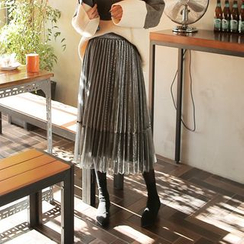 Cherryville - Layered Pleated Long Skirt