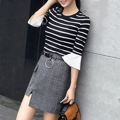 Mukouf - Set: 3/4-Sleeve Striped Top + Plaid Skirt