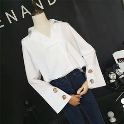 RUI - V-neck Bell-Sleeve Blouse