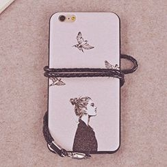 Kindtoy - Couple Matching Printed Case with Strap - iPhone 6s / 6s Plus
