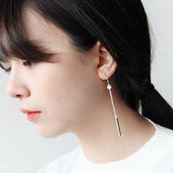 Blinglitz - 925 Sterling Silver Bar Non-Matching Earrings