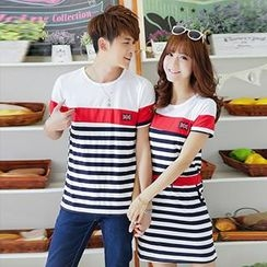Lovebirds - Striped T-Shirt / Striped Drawstring T-Shirt Dress