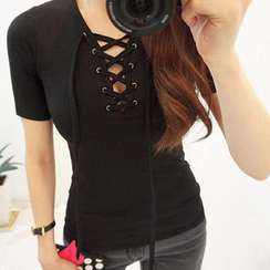 chuu - Lace-Up Short-Sleeved Top