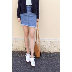 CHERRYKOKO - Diagonal Fray-Hem Denim Mini Skirt