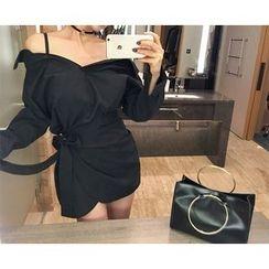 Marlangrouge - Off-Shoulder Tie-Waist Mini Dress