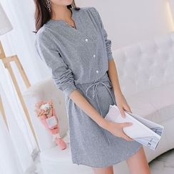 Q.C.T - Split-neck Long-Sleeve Dress