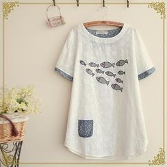 Fairyland - Short Sleeves Contrast Trim Applique T-shirt