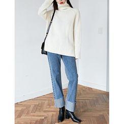 FROMBEGINNING - Cuff-Hem Wide-Leg Jeans