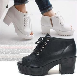 Reneve - Open-Toe Lace-Up Ankle Boots