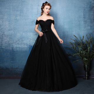 Coeur Wedding - Off-shoulder Ball Gown Evening Dress