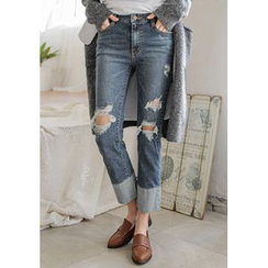 GOROKE - Cuff-Hem Distressed Straight-Cut Jeans