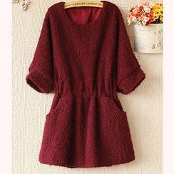 Ringnor - Elbow-Sleeve Smocked-Waist Furry Tunic