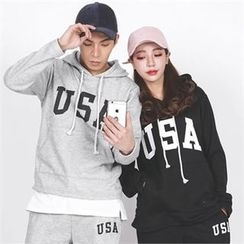 Superstar.i - Couple Hooded Lettering Pullover