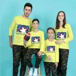 Panna Cotta - Star Print Long Sleeve Family Matching T-Shirt