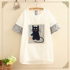 Maymaylu Dreams - Short Sleeve Cat  Printed Tee