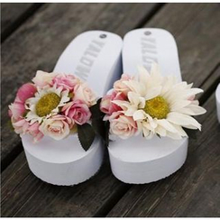 Trava - Flower Wedge Slide Sandals