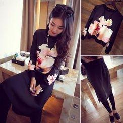 QZ Lady - Set: Flower Print Pullover + Inset Chiffon Skirt Leggings