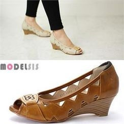 MODELSIS - Genuine Leather Toe-Open Wedges